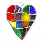 Patchwork Heart Suncatcher Stained Glass Handmade Rainbow 051
