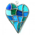 Patchwork Heart Suncatcher Stained Glass Handmade Turquoise 050