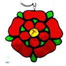 Lancashire Rose Suncatcher Stained Glass 058