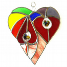 Heart of Hearts Rainbow Suncatcher Stained Glass 054
