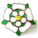 Yorkshire Rose Suncatcher Stained Glass 059