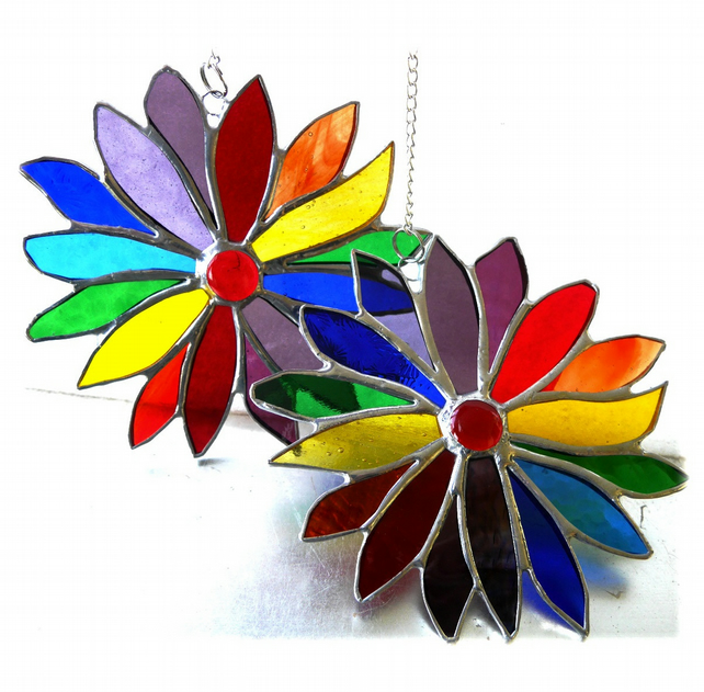 Rainbow Flower Stained Glass Suncatcher 060 or 061