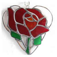 Red Rose Heart Suncatcher Stained Glass 022