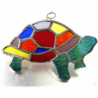 Tortoise Suncatcher Stained Glass Handmade Rainbow 028 Turtle