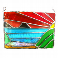 Sea View Panel Stained Glass Picture Landscape Sunset 006