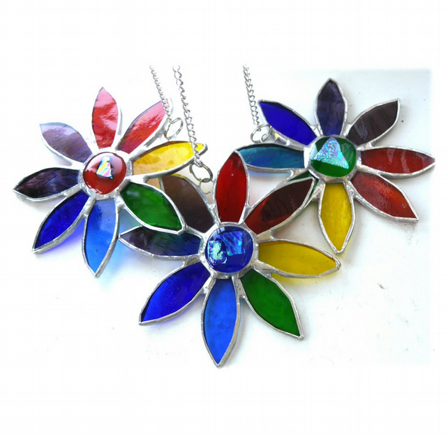 SOLD Rainbow Daisy Suncatcher Stained Glass Flower Dichroic