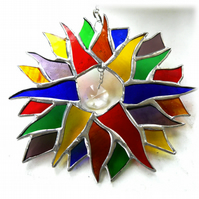 Double Rainbow Sun Suncatcher Stained Glass 006