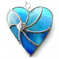 Turquoise Swirl Heart Stained Glass Suncatcher 049
