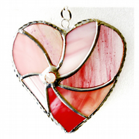Pink Swirl Heart Stained Glass Suncatcher 039