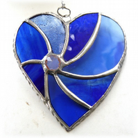 Blue Heart Swirl Stained Glass Suncatcher 051