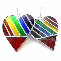 Love Heart  Rainbow Stained Glass Suncatcher Diagonal 021 022