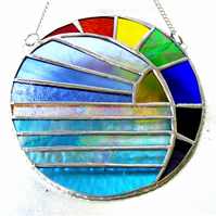 Rainbow Moon and Sea Suncatcher Stained Glass 006