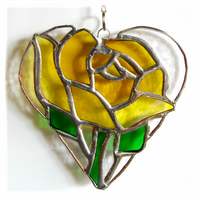 Yellow Rose Heart Suncatcher Stained Glass 026