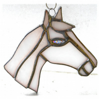 Horse Suncatcher Stained Glass Horsehead White 102