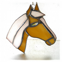 Horse Suncatcher Stained Glass Horsehead Caramel 101