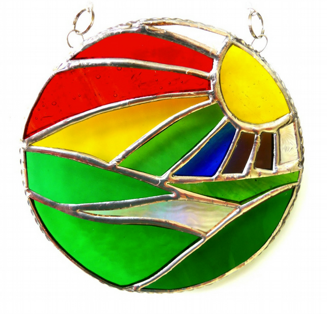 New Day Stained Glass Suncatcher Handmade Rainbow Ring 031