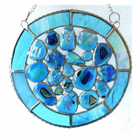 Rockpool Suncatcher Stained Glass Abstract Handmade fused 022