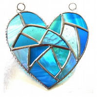 Fat Patchwork Heart Suncatcher Turquoise Stained Glass Handmade