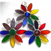 Rainbow Daisy Suncatcher Stained Glass Flower Dichroic