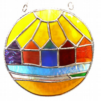 Beach Hut Ring Stained Glass Handmade Sunshine 009