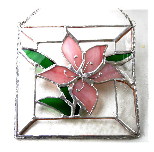 Lily Stained Glass Suncatcher Pink Framed 018
