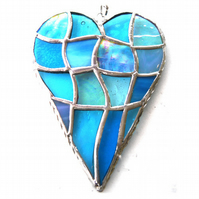 Patchwork Heart Suncatcher Stained Glass Handmade Turquoise