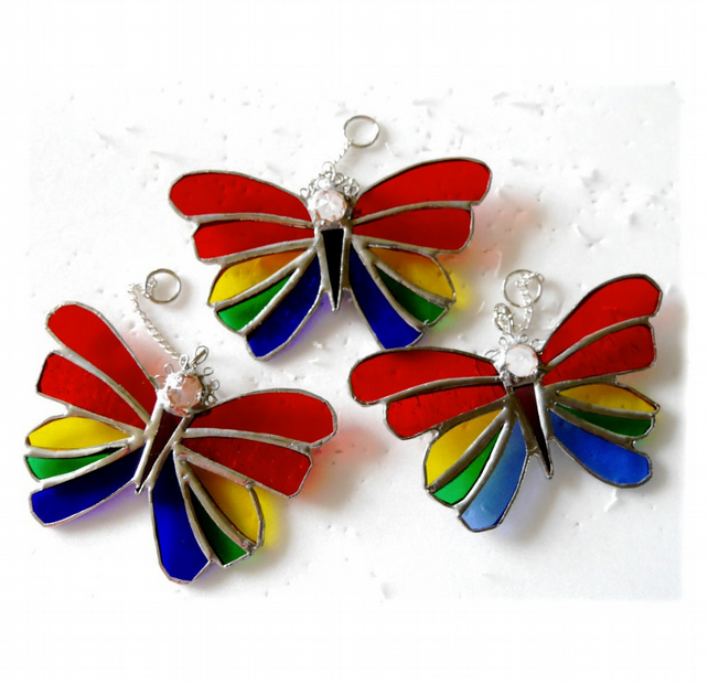 Rainbow Butterfly Suncatcher Stained Glass Crystal Head
