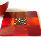Fused Glass Trivet Red Trivet 16cm 029