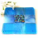 Fused Glass Trivet Turquoise Trivet 16cm 030