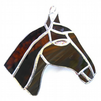 Horse Suncatcher Stained Glass Horsehead Brown 104