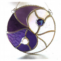 Yin Yang Suncatcher Stained Glass Handmade Purple 010