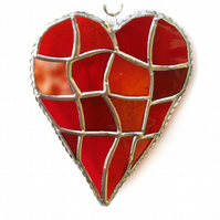 Patchwork Heart Suncatcher Stained Glass Handmade Red