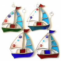 Boat Suncatcher Stained Glass Sailboat Yacht Red, Blue or Blue Green