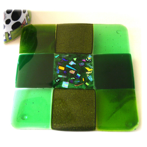 Fused Glass Trivet Green Trivet 16cm 032