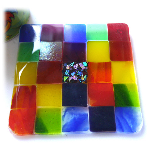 Fused Glass Trivet Rainbow Trivet 16cm 033