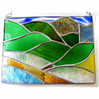 Welsh Mountain Stained Glass Picture Landscape 003