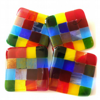 Fused Glass Coaster 8cm Rainbow patchwork