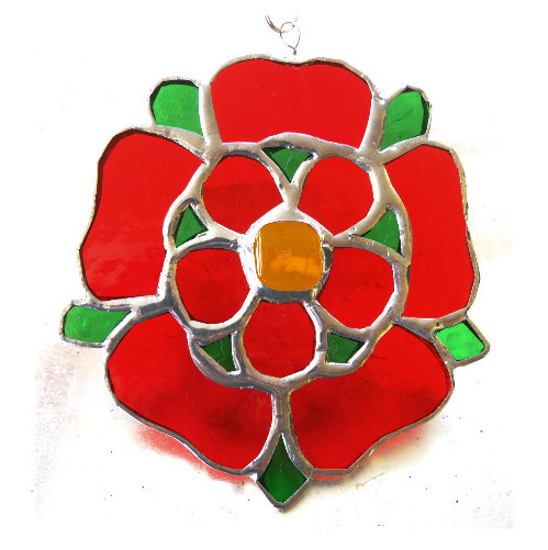 Lancashire Rose Suncatcher Stained Glass 064