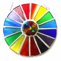 Summer Solstice Rainbow Burst Suncatcher Stained Glass Handmade 030