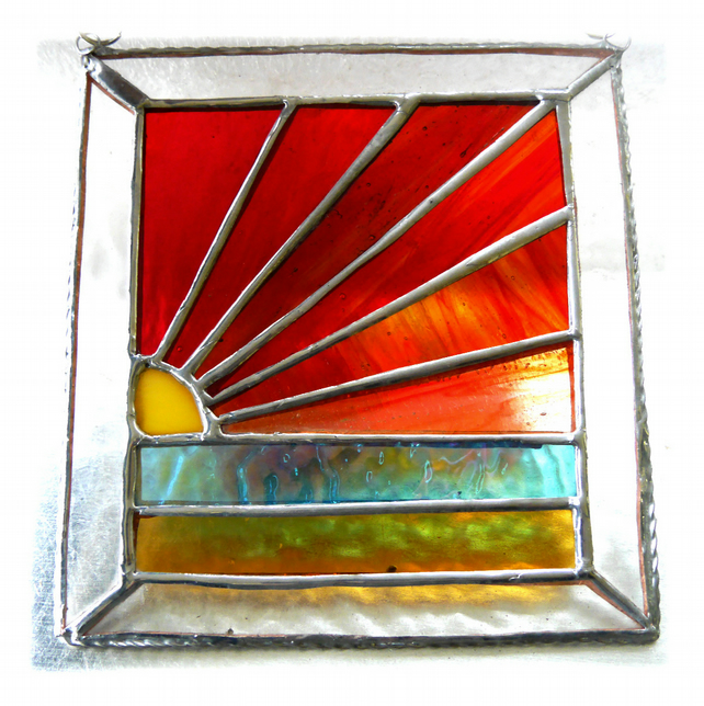 Sunset Beach Stained Glass Suncatcher Handmade 001