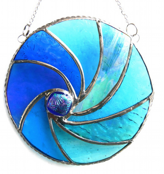 Ripwave Stained Glass Suncatcher Handmade Sea 006
