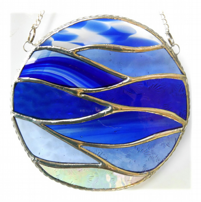 Making Waves Blue Stained Glass Suncatcher Handmade Ring Sea 016