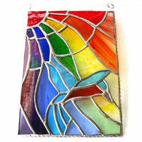 Kingfisher Rainbow Panel Stained Glass Suncatcher 017