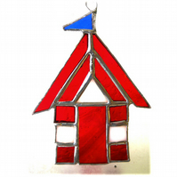 Beach Hut Suncatcher Stained Glass red 023