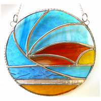 Sunset Waves Suncatcher Stained Glass 008
