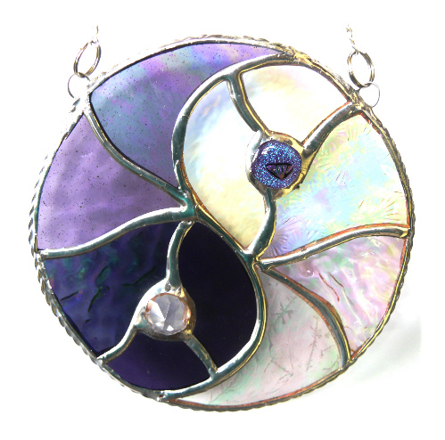 Yin Yang Suncatcher Stained Glass Handmade Purple 011