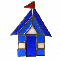 Beach Hut Suncatcher Stained Glass blue 021