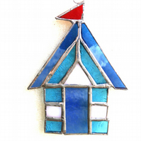Beach Hut Suncatcher Stained Glass aqua 022