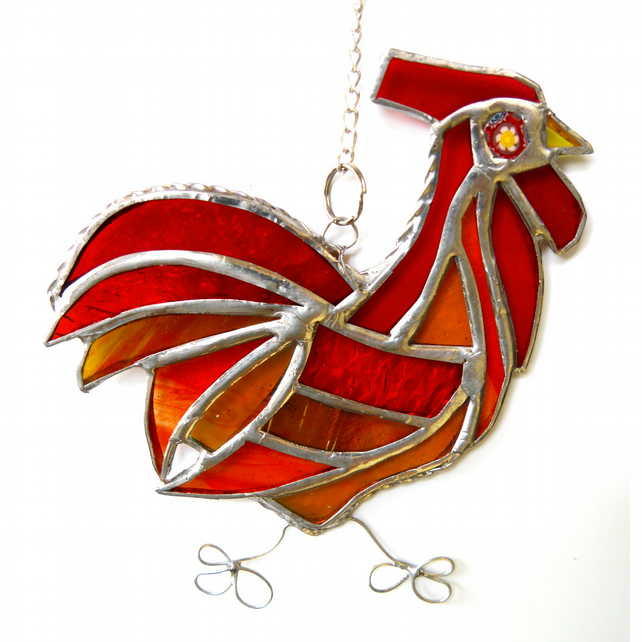 Cockerel Suncatcher Stained Glass chicken 036 Red