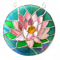 Waterlily Suncatcher Stained Glass 009 Pink